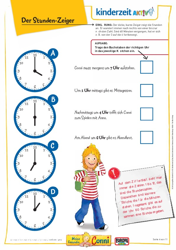 Mit Conni die Uhrzeit lernen - Die Fachseite für Erzieher/innen