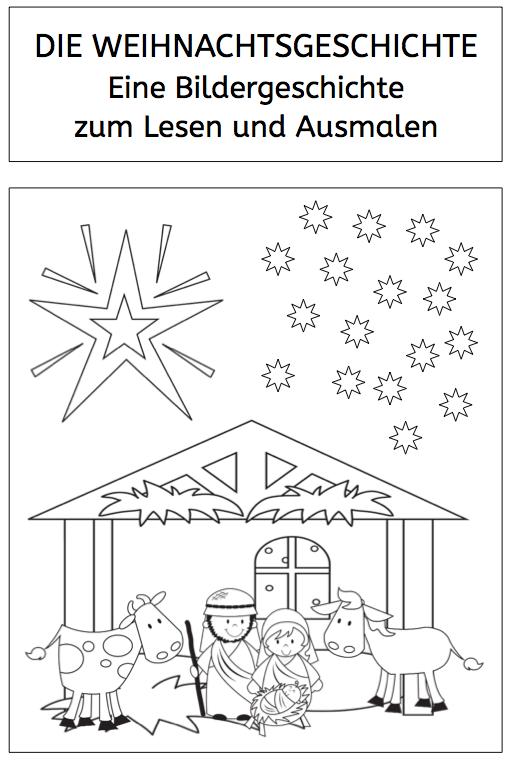 die weihnachtsgeschichte zum lesen und ausmalen die. Black Bedroom Furniture Sets. Home Design Ideas